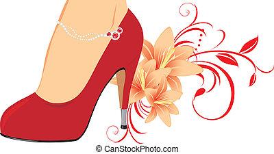 elegancki, czerwony, samica, obuwie