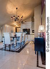 elegancki, jadalny pokój, wewnętrzny