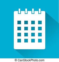 elegancki, kalendarz, ikona