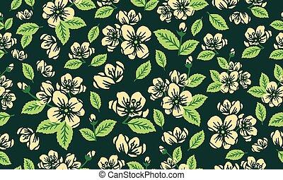 elegancki, liść, wiosna, tapeta, tło., próbka, kwiat