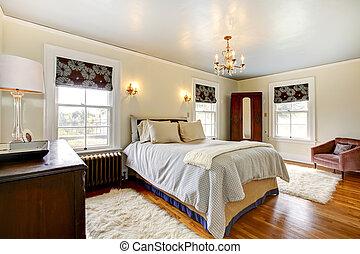 elegancki, sypialnia, luksus, interior.