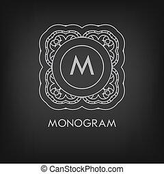 elegancki, szablon, luksus, monogram, monochromia, ...