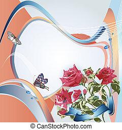 elegancki, tło, róże