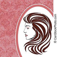 elegancki, ułożyć, portret kobiety