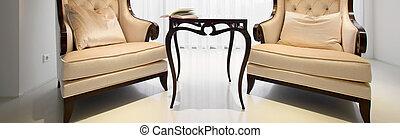 elegancki, wnętrze, miejsce zamieszkania, fotele, rocznik wina