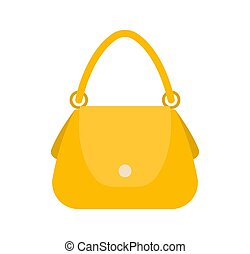 Elegance female bag, colorful vector illustration, yellow handbag, round handle on two clips, white button for pocket, woman item, vogue vanity case