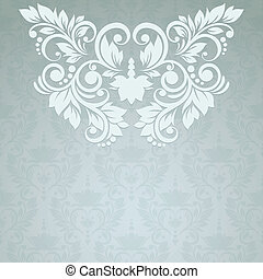 elegant, årgång, kort, med, blommig, seamless, bakgrund,...