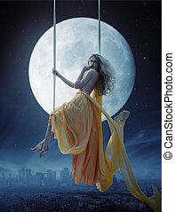 elegant, över, stor, bakgrund, måne, kvinna