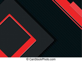 Elegant Abstract Black Background with Red Tech Style