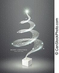 elegant, abstract, boompje, kerstmis, het fonkelen