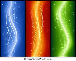 elegant, abstrakt, festiv, welle, glühen, sternen, banner