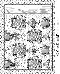 Elegant adult coloring page, lovely swimming fish,...