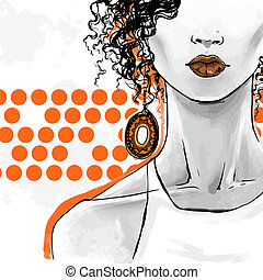 Vector fashion illustration, freehand drawing. Poster art for beauty shops, hairdressers.
