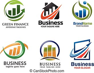 marketing and finance logo set.
