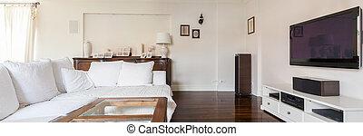 Elegant and stylish living room - White sunny room