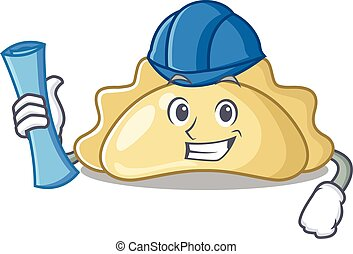 Elegant Architect pierogi having blue prints and blue helmet. Vector illustration