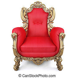 armchair - elegant armchair of red fabric and gold-plated...