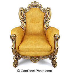 armchair - elegant armchair of yellow chamois leather and...