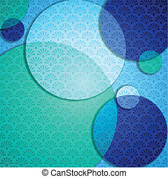 Elegant patterned background in cool blue tones. Graphics are grouped and in several layers for easy editing. The file can be scaled to any size.