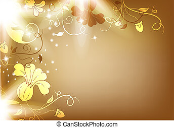 Luminous background with flowers and bright light. Beautiful bright harmonic colors. Vintage brown color and beautiful flowers. Place Your text if necessary.