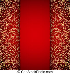 Elegant background with gold lace ornament - Elegant red...