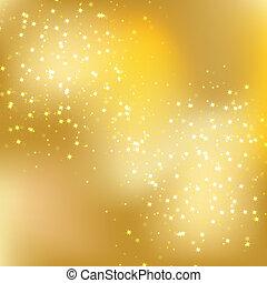 elegant background with star - stars descending on golden...