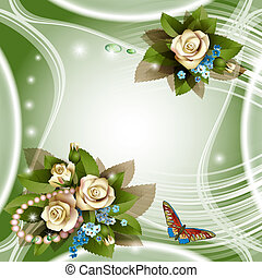 Elegant background with white roses