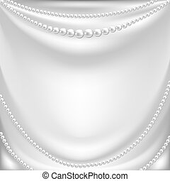 Elegant background with white silk drapery and pearl necklace