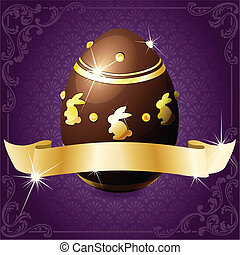 High gloss design with a gold banner wrapped around a decorated chocolate egg. Graphics are grouped and in several layers for easy editing. The file can be scaled to any size.
