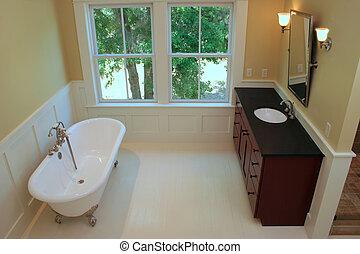 Elegant bathroom with clawfoot tub