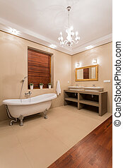 Elegant bathtub in luxury bright washroom