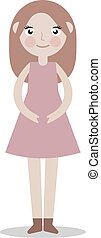 Elegant, beautiful girl in a dress. Vector