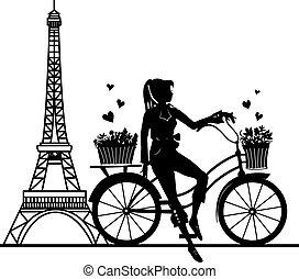 Elegant beautiful girl on a bicycle