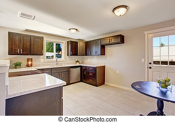 elegant, befleckt, cabinets., kueche