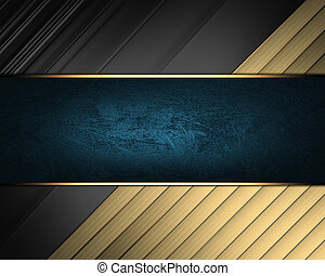 Elegant black background with gold ribbons and blue nameplate