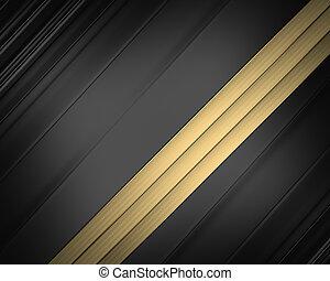 Elegant black background with gold ribbons.