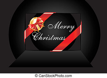 Black Christmas Card with Ribbon