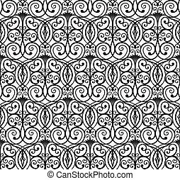 Elegant Black Curly Forged Seamless Pattern with Floral and Flower Elements on White Background