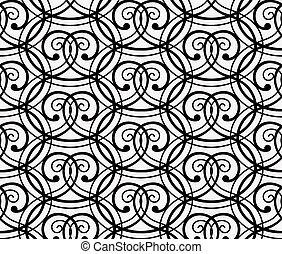 Elegant Black Curly Forged Seamless Pattern on White...