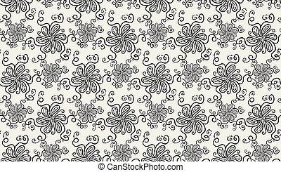 Elegant Black flower pattern on light background