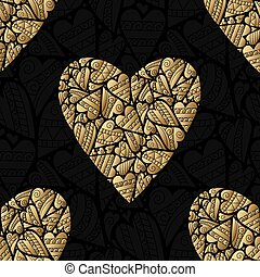 Elegant black golden seamless pattern. Vector