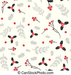 Elegant black, red and gray vector seamless pattern with berries and pine branches for Christmas and winter designs and backgrounds