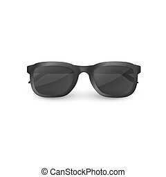 Elegant black sunglasses with clear glasses. Vector illustration isolated on white background