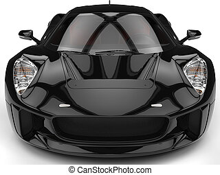 Elegant black super sports car - extreme closeup shot