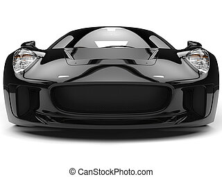 Elegant black super sports car - front view closeup shot