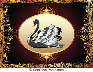 Elegant black swan with golden ornament