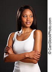 Elegant black woman in white vest - Portrait of elegant,...