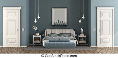 elegant, blaues, meister, schalfzimmer