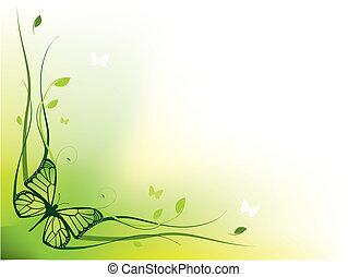 elegant, blom- gränsa