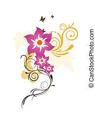 elegant, blomningen